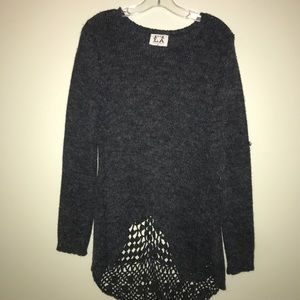 Sweaters - PPLA charcoal sweater with back detail
